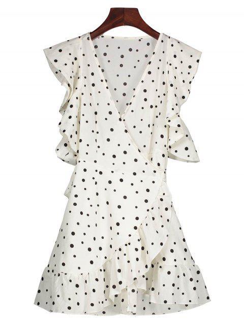women's Polka Dot Wrap Casual Dress - WHITE XL Mobile