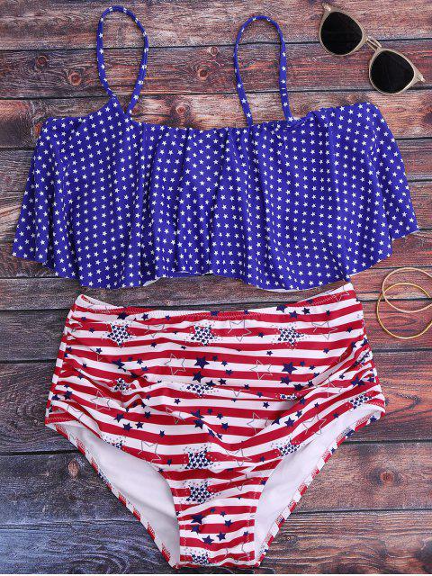 Pentagrama impresión de talle alto Conjunto de bikini - Azul M Mobile