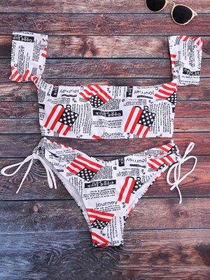 Ensemble De Bikini épaules Dénudées Imprimé Patriotique Drapeau Américain - Blanc M
