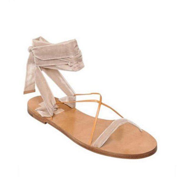Velvet Flat Heel Sandals 210796109