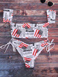 Patriotic American Flag Off The Shoulder Bikini Set - White M