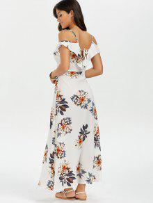 Blanco S Flounce Alto Floral Vestido Largo Split q1HxaSX
