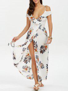 فستان طباعة الأزهار كشكش عالية انقسام ماكسي - أبيض M