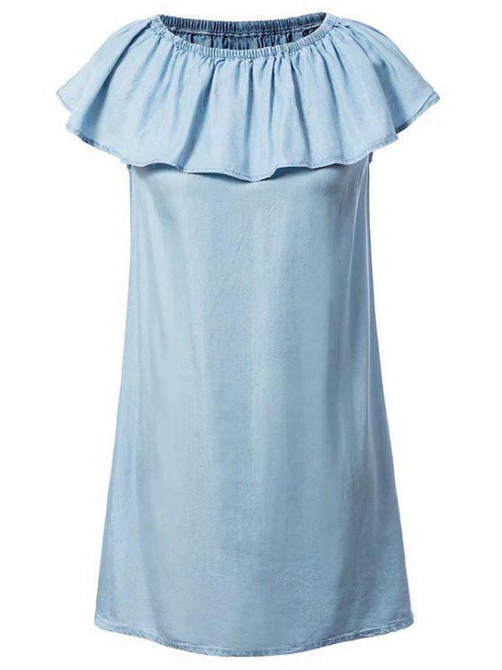 fashion Chambray Off The Shoulder Dress - LIGHT BLUE L