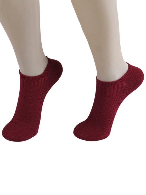 outfit Knited Striped Ankle Socks - WINE RED