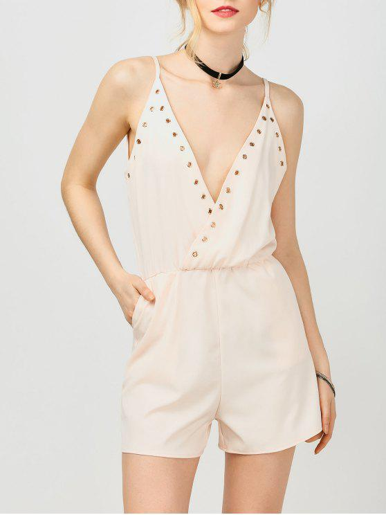 Combinaison de bain avec poches et bretelles rose p le combinaisons salopettes l zaful - Combinaison rose pale ...