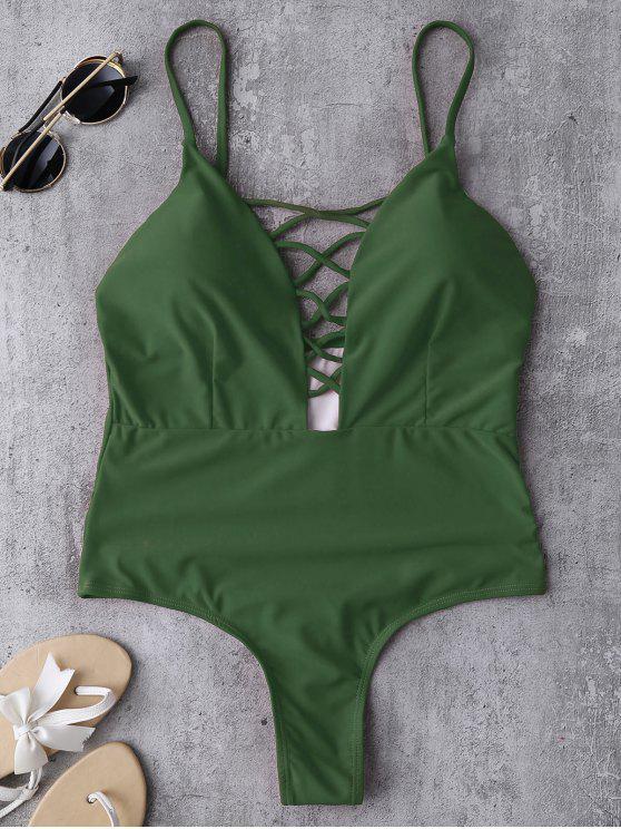 تغرق الرقبة Strappy ملابس - أخضر S