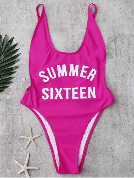 hot High Cut Letter Swimwear - TUTTI FRUTTI L