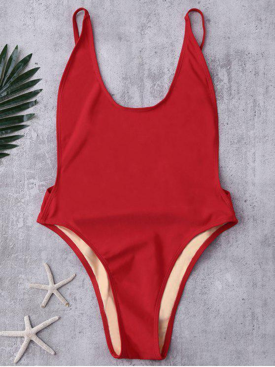Sin respaldo Corte Alto traje de baño - Rojo S