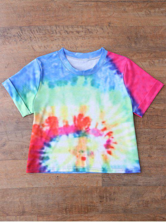 17d5970adb0a1 19% OFF  2019 Rainbow Tie Dye Swirl Crop Top In BLUE