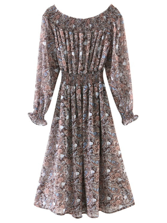15b610521628 2019 Off The Shoulder Paisley Smocked Dress In COFFEE S