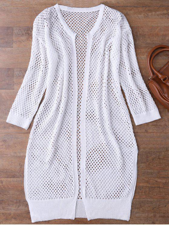 Recepción abierta abierta Knit Beach Cover Up - Blanco Única Talla