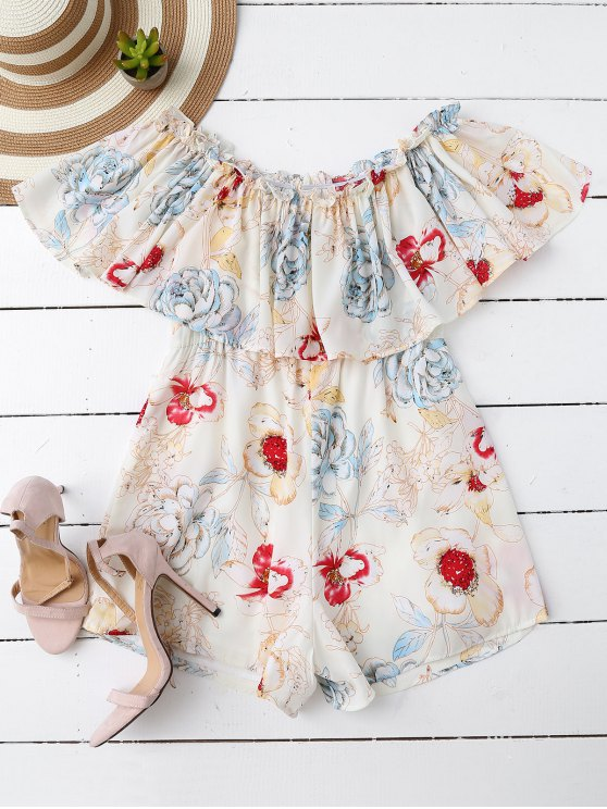 outfit Off Shoulder Floral Romper - WHITE M