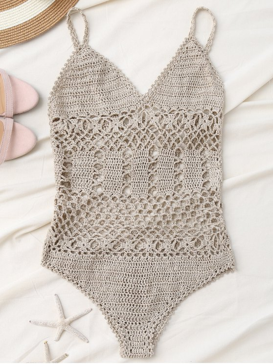 chic Cami Plunge Crochet Bodysuit - LIGHT KHAKI S
