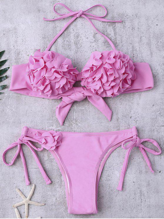 lady Stereo Flower Applique Halter String Bikini - PINK S