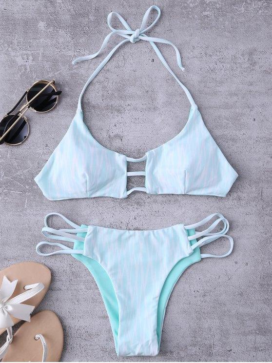 trendy Argyle Halter Ladder Cut Reversible Bikini - WHITE AND GREEN L