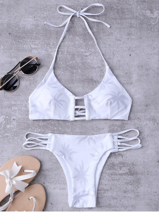 unique Ladder Cut Halter Coconut Print Bathing Suit - WHITE M