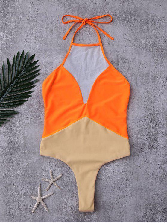 latest Backless Color Block Mesh Panel Swimwear - ORANGE S