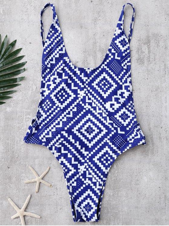 Bañador con Abertura Alta con Estampado Geométrcio con Espalda Abierta - Azul M