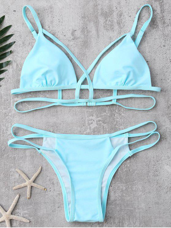 affordable Strappy Bandage Bikini Set - LIGHT BLUE S