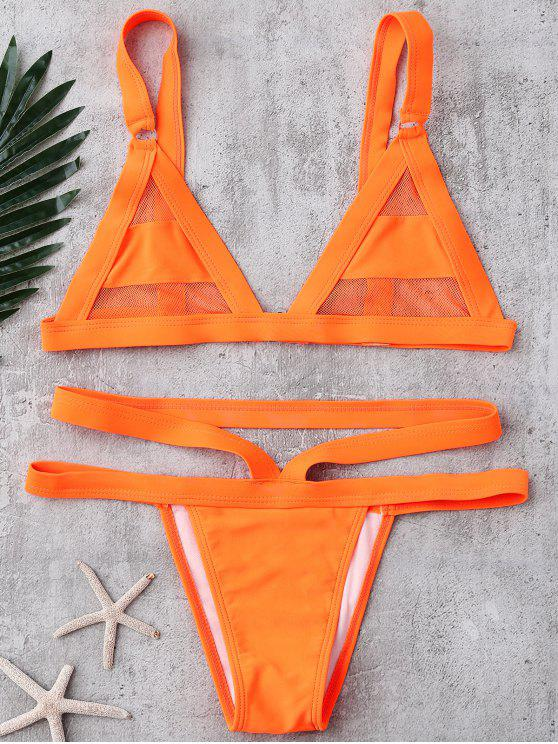 women's Mesh Panel Bandage Bikini - ORANGE XL