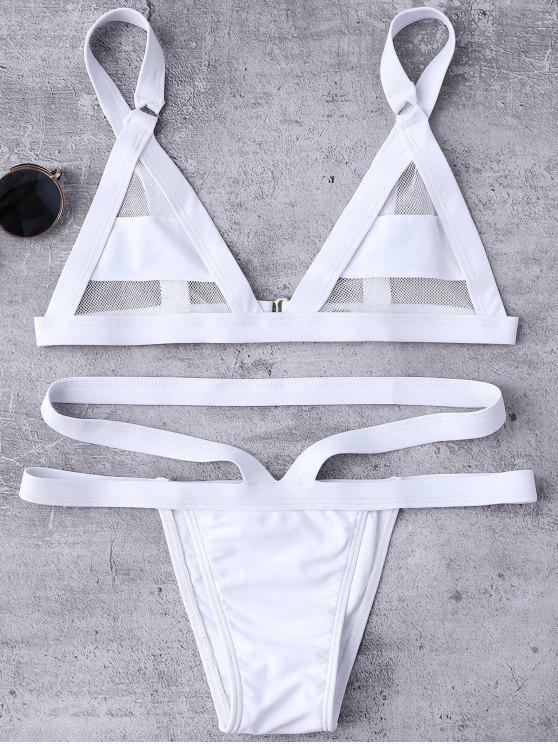 Bikini de Vendaje con Panel de Malla - Blanco M