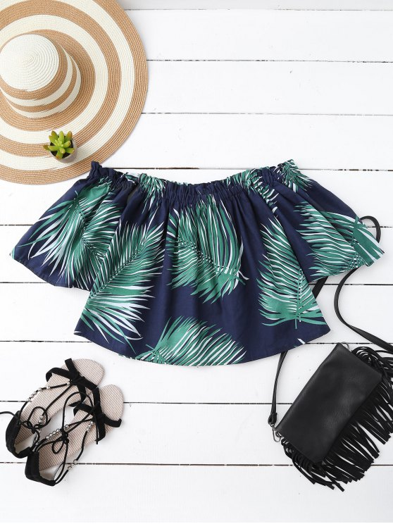 online Leaf Print Off The Shoulder Top - CADETBLUE ONE SIZE