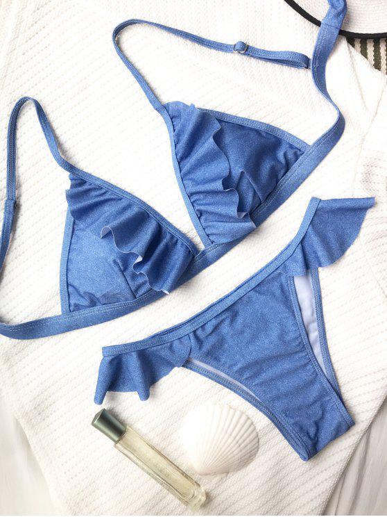 Ensemble de bikini bas levé à volants - Bleu S