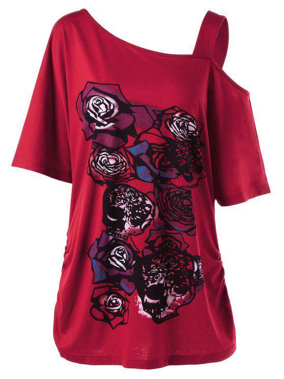 Camiseta Tallas Grandes Patrón Rosa Cuello Asimétrico - Rojo XL