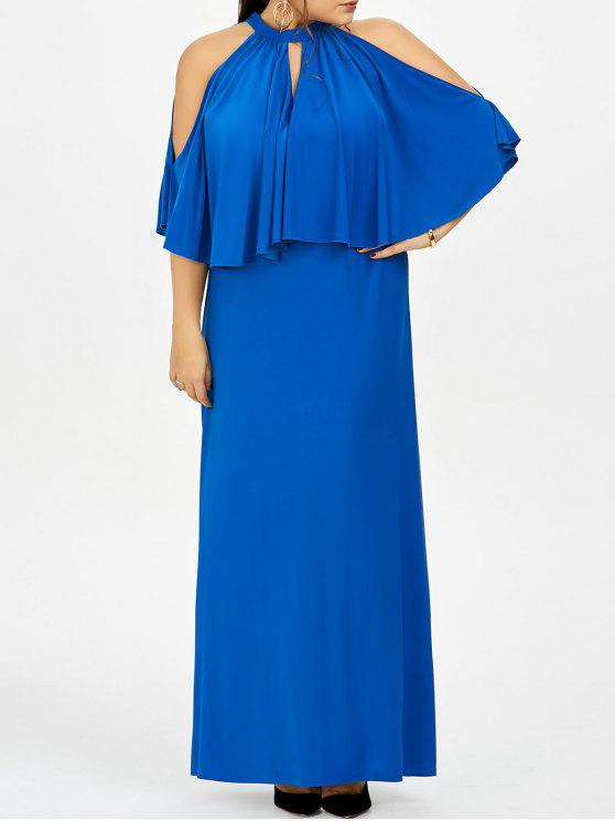 25% OFF] 2019 Cold Shoulder Capelet Plus Size Evening Dress In BLUE ...
