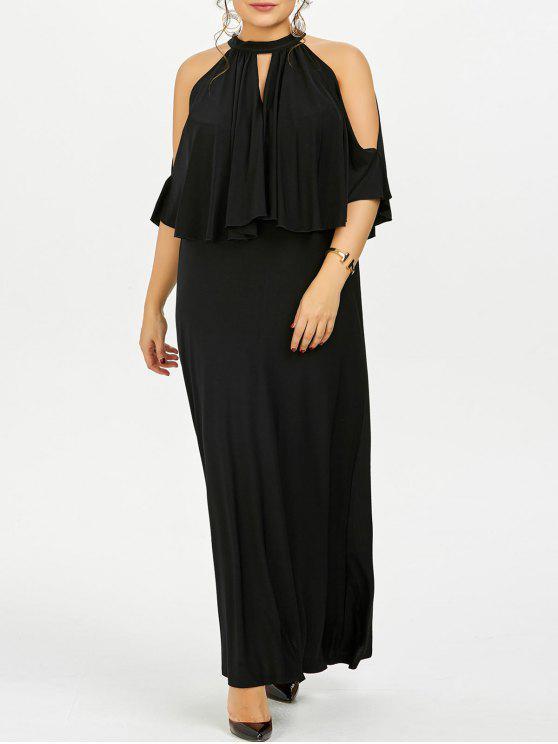 Cold Shoulder Capelet Plus Size Evening Dress