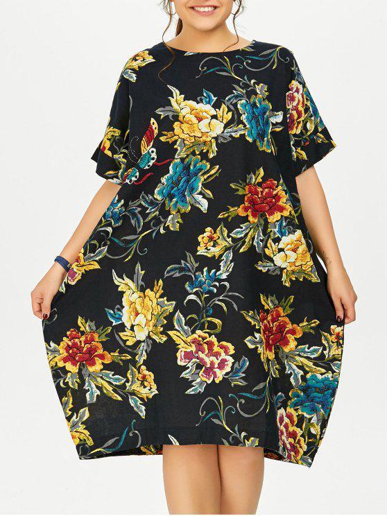 زائد الحجم فراشة الزهور ميدي اللباس المتضخم - ازرق غامق حجم واحد