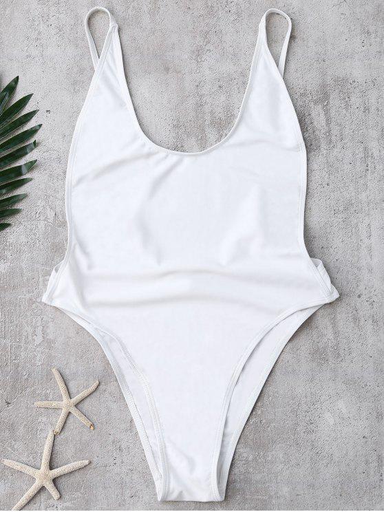 عارية الذراعين السامية قطع ملابس السباحة - أبيض L