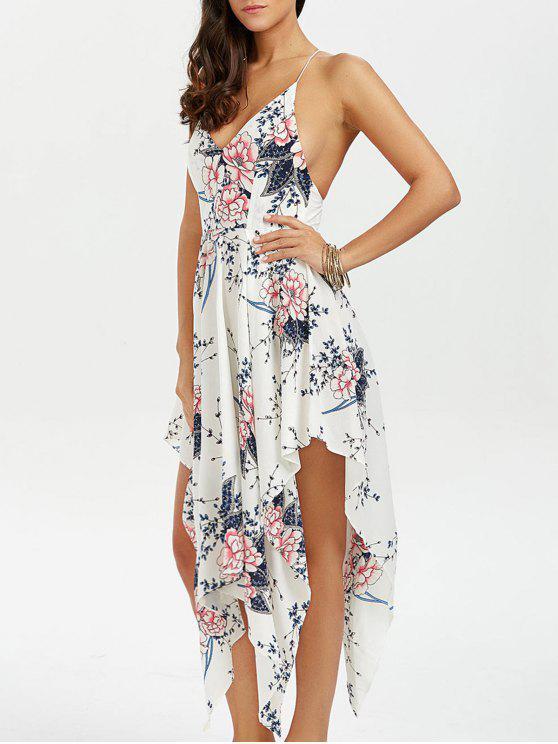 5e211cbcad 25% OFF  2019 Floral Maxi Handkerchief Casual Slip Dress In WHITE ...