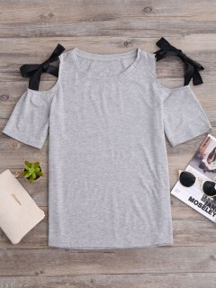 Ribbon Bowknot Cold Shoulder Tee - Gray S