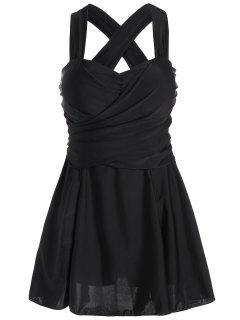 Alta Cintura Y Traje De Baño De Una Pieza Con Falda De Tamaño - Negro 6xl