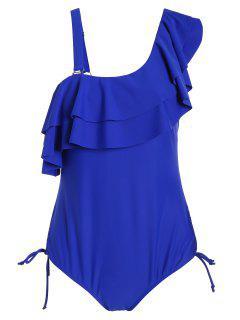 Ruffle Plus Size One Piece Swimwear - Blue 3xl