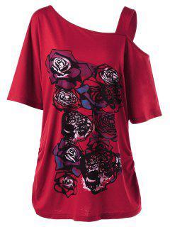 Camiseta Tallas Grandes Patrón Rosa Cuello Asimétrico - Rojo 3xl