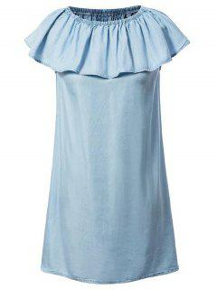 Chambray Off The Shoulder Dress - Light Blue S