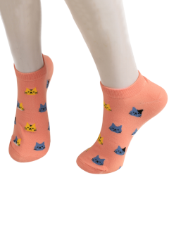 Cartoon Cat Head Embellished Loafer Ankle Socks - Deep Pink