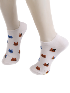 Cartoon Cat Head Embellished Loafer Ankle Socks - White
