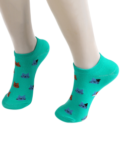 Cartoon Cat Head Embellished Loafer Ankle Socks - Blue Green