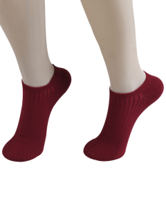 Knited Striped Ankle Socks - Wine Red