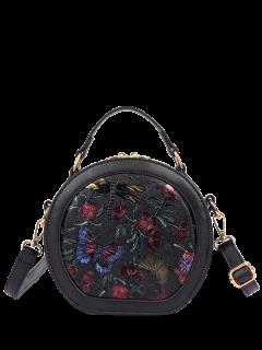 Mariposa Floral En Relieve Bolsa De Cantina - Negro