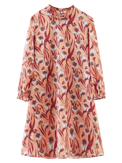 Long Sleeve Sunflower A-Line Dress - Orangepink L