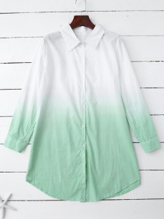 Ombre Color Oversized Shirt - Green M