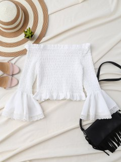 Hombro De Smocked De La Llamarada De La Manga Camisa Corta - Blanco S