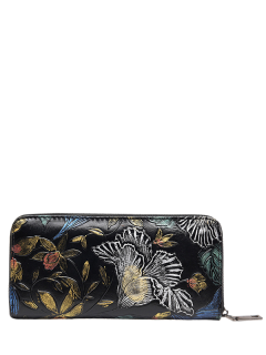 Zip Around Floral Embossed Wallet - Off-white