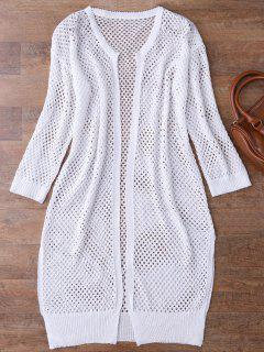 Open Front Open Knit Beach Cover Up - White