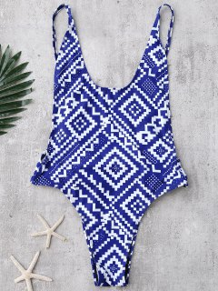 Backless Geometric Print High Cut Swimwear - Blue M